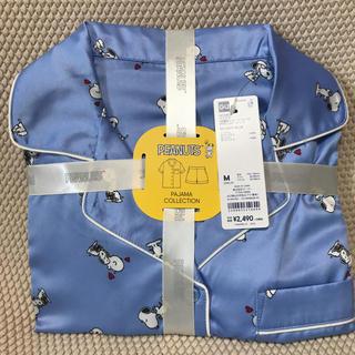 ジーユー(GU)のGUサテンパジャマ半袖ショートパンツスヌーピー柄ブルーMサイズ(パジャマ)