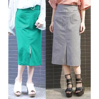 ヘザー(heather)のHeather リバーシブルタイトスカート/グリーン×ギンガムS(ひざ丈スカート)