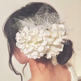 【orderpage】ヘッドドレス(ホワイトダリア×チュール)(ヘッドドレス/ドレス)