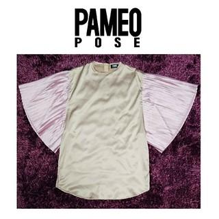 パメオポーズ(PAMEO POSE)のPAMEO POSE パメオポーズ カットソー ブラウス プリーツ バイカラー(カットソー(半袖/袖なし))