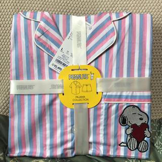ジーユー(GU)のGUコットンパジャマ半袖ショートパンツスヌーピ〜ストライプピンクLサイズ(パジャマ)