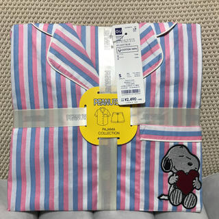ジーユー(GU)のGUコットンパジャマ半袖ショートパンツスヌーピーストライプピンクSサイズ(パジャマ)