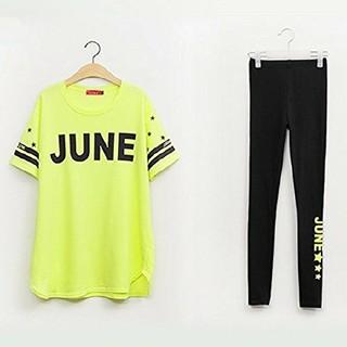 4L 新品 半袖Tシャツ+レギンス 黄 大きいサイズ カジュアルウェア スポーツ(Tシャツ(半袖/袖なし))
