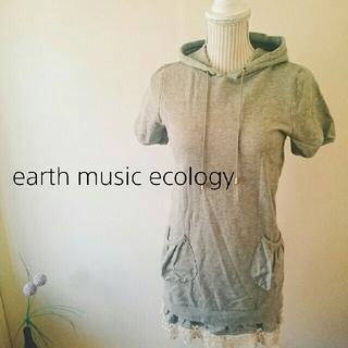 アースミュージックアンドエコロジー(earth music & ecology)のパーカー♥ロング裾レース(パーカー)