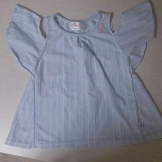 シマムラ(しまむら)の肩出し ストライプヒラヒラチュニックTシャツ120(Tシャツ/カットソー)