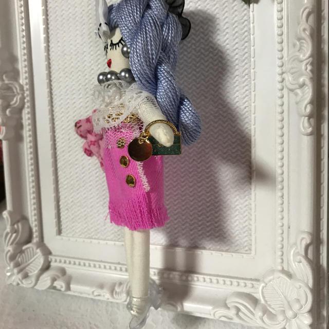 ルルベちゃんバックチャームドール    ピンクデニム ハンドメイドのファッション小物(バッグチャーム)の商品写真