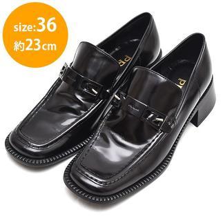 プラダ(PRADA)の美品❤プラダ ロゴプレート ローファー 36(約23cm)(ローファー/革靴)