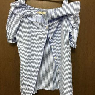 Fサイズ ブルー ギンガム オフショルダー 半袖 シャツ(シャツ/ブラウス(半袖/袖なし))