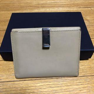 プラダ(PRADA)のプラダ Wホック 財布 ベージュ レザー シルバー金具(財布)