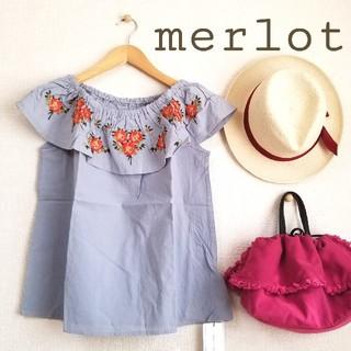 メルロー(merlot)のmerlot*♫フラワー刺繍2wayブラウス ライトブルー(シャツ/ブラウス(半袖/袖なし))