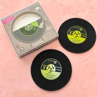 新品!▪️レコード型 コースター2枚セット▪️黒ヒップホップダンスレゲエ(ターンテーブル)
