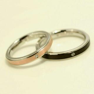 刻印無料 ペアリング ♡ スリムバイカラーリング 2個(リング(指輪))
