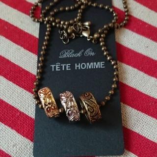 テットオム(TETE HOMME)の☆TETE テットオム メンズ ネックレス 3連 リング モチーフ 新品☆(ネックレス)