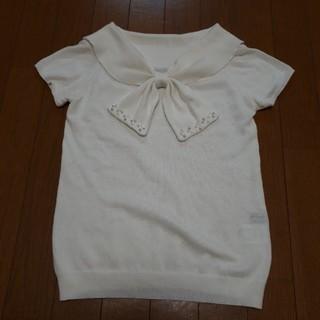 シマムラ(しまむら)のサマーニット レディース M オフホワイト(カットソー(半袖/袖なし))