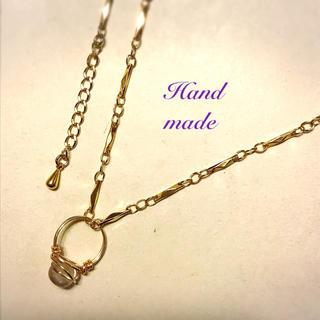 ミニ天然石リングのデザインチェーンネックレス♡(ネックレス)