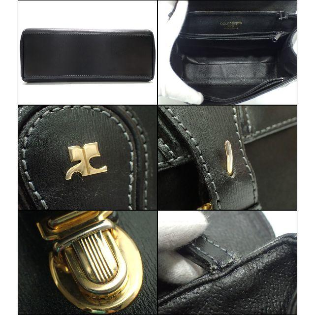 Courreges(クレージュ)のA570 中古 クレージュ レザー ハンドバッグ ブラック レディース レディースのバッグ(ハンドバッグ)の商品写真