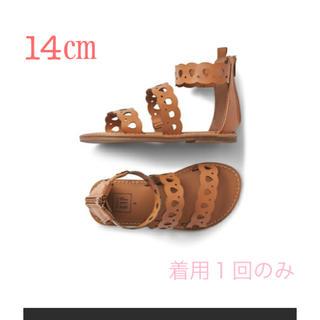ベビーギャップ(babyGAP)の【美品】babyGAP スカラップサンダル 14cm ブラウン(サンダル)