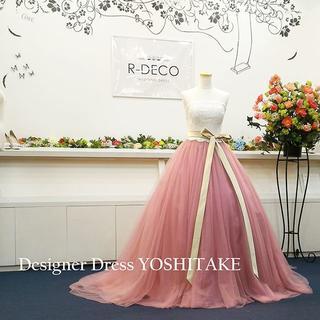 ウエディングドレス バイカラー渋ピンク 披露宴(ウェディングドレス)