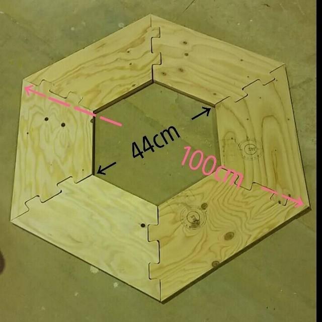 [一点物]ミニヘキサテーブル キャンプギア インテリア/住まい/日用品の机/テーブル(アウトドアテーブル)の商品写真