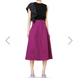 ルシェルブルー(LE CIEL BLEU)のコットンツイルハイウエストスカート(ひざ丈スカート)