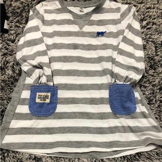 グレー ボーダー  デニム ポケット 刺繍 ネコ ワンピース Tシャツ(ワンピース)