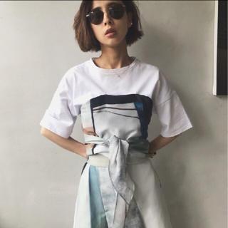 アメリヴィンテージ(Ameri VINTAGE)の新品 タグ付 Ameri アメリ MEDI DRAWING UNEVEN TEE(Tシャツ(半袖/袖なし))