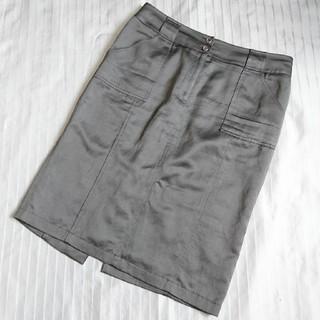 バーバリー(BURBERRY)のバーバリー ロンドン 麻混合 スカート 44 大きいサイズ(ひざ丈スカート)