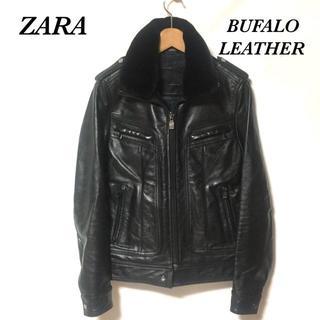ザラ(ZARA)のザラ ZARA BLACK TAG ファー襟付 バッファローレザージャケット S(レザージャケット)