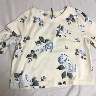 ジーユー(GU)の黄色 花柄 七分袖 トップス(Tシャツ(長袖/七分))