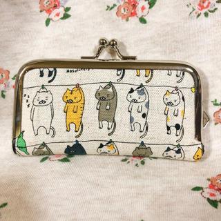 洗濯猫*大きめがま口印鑑ケース/コインケース*ハンドメイド/干し猫(雑貨)