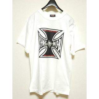 キングモブ(KING MOB)の廃盤!スモールサイズS!キングモブKINGMOBプリント半袖Tシャツ白ホワイト(Tシャツ/カットソー(半袖/袖なし))