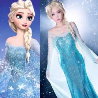 ディズニー(Disney)の新品・未使用 アナと雪の女王 エルサ コスプレ ウィッグ付 送料無料(衣装一式)