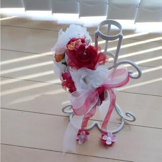 リストレット♡ゴムタイプ 白メイン♡赤♡オレンジ(ブレスレット/バングル)