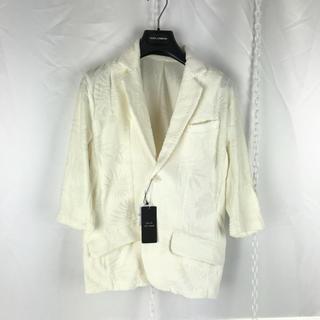 テットオム(TETE HOMME)のテットオム ボタニカル 七分袖 ジャケット タオル地 M リゾート(テーラードジャケット)
