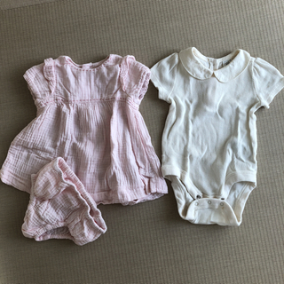 ザラキッズ(ZARA KIDS)のZARA mini  ワンピ  babyGAPロンパース(ワンピース)