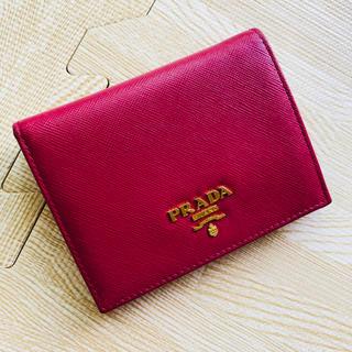 プラダ(PRADA)のPRADA 二つ折りミニサイフ ピンク IBISCO 1M0204(財布)