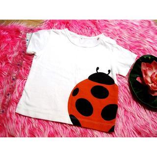 ムジルシリョウヒン(MUJI (無印良品))のMUJI/無印良品 半袖Tシャツ 80 てんとう虫 動物 男の子 女の子 白(Tシャツ/カットソー)