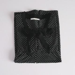 大きいサイズ ドット リボン 半袖 ブラウス(シャツ/ブラウス(半袖/袖なし))