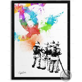 色と種類とサイズが選べるインテリアアートポスター 消防士A(ポスターフレーム )