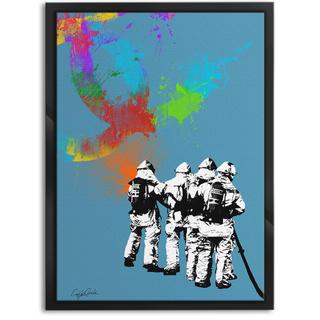 色と種類とサイズが選べるインテリアアートポスター 消防士B(ポスターフレーム )