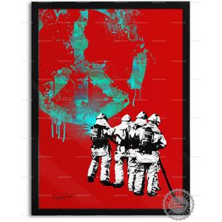 色と種類とサイズが選べるインテリアアートポスター 消防士C(ポスターフレーム )