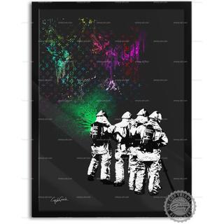 色と種類とサイズが選べるインテリアアートポスター 消防士E(ポスターフレーム )