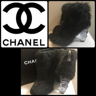 シャネル(CHANEL)のCHANEL♡ブラックファー×クリスタルヒール ショートブーツ♡(ブーツ)