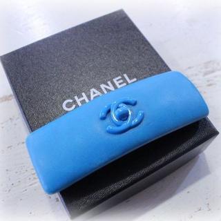 シャネル(CHANEL)の★ヴィンテージシャネル★ココマーク レザー バレッタ ブルー(バレッタ/ヘアクリップ)
