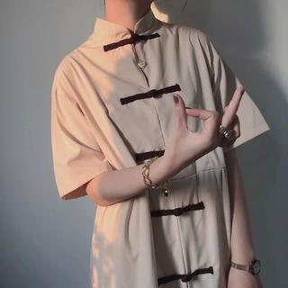 🇨🇳 チャイナ風 立襟 モックネック Aラインワンピース