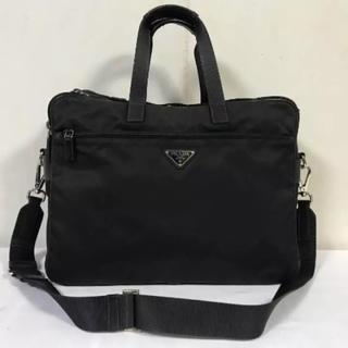 プラダ(PRADA)の美品本物プラダPRADAナイロン本革レザービジネスバッグショルダーバック黒メンズ(ビジネスバッグ)