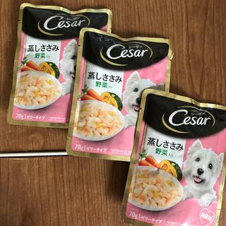 シーザー(CASAR)のシーザー ウェットフード 蒸しささみ野菜入り 3パックセット ポイント消化に(ペットフード)