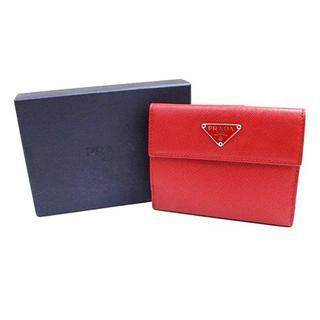 プラダ(PRADA)の未使用品 PRADA プラダ サフィアーノ 二つ折り財布 レザー 赤 レッド(財布)