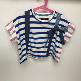 ニードルワークスーン(NEEDLE WORK SOON)のキッズ 二色ボーダーサスペンダーデザインTシャツ(Tシャツ/カットソー)