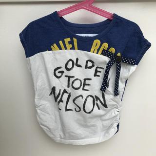 ニードルワークスーン(NEEDLE WORK SOON)のキッズ サイドギャザーリボン付きフレンチスリーブTシャツ(Tシャツ/カットソー)